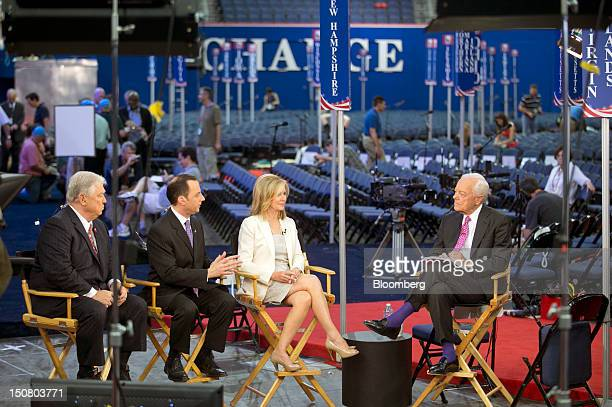 Bob Schieffer right hosts Haley Barbour former governor of Mississippi left to right Reince Priebus chairman of the Republican National Committee and...