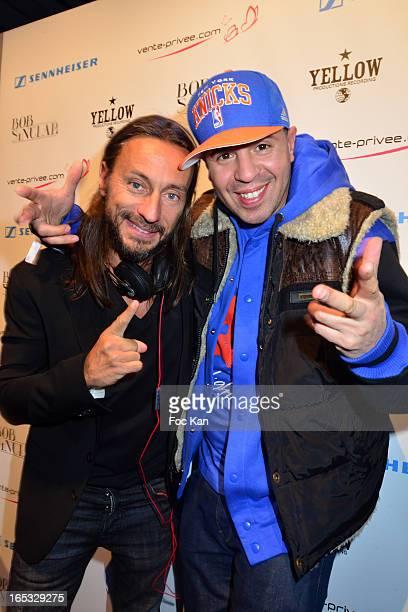 Bob Sinclar and DJ Cut Killer attend the 'Paris By Night' Bob Sinclar CD Launch Concert Party At La Gaite Lyrique on April 2 2013 in Paris France