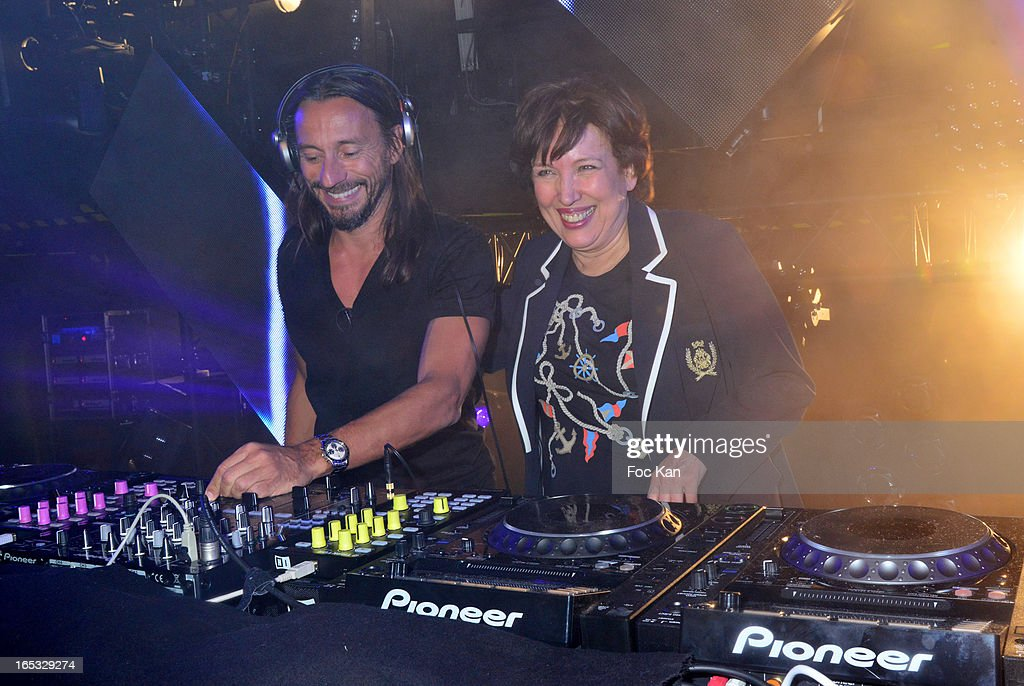 Bob Sinclar and Roselyne Bachelot perform during the 'Paris By Night' Bob Sinclar CD Launch Concert Party At La Gaite Lyrique on April 2, 2013 in Paris, France.