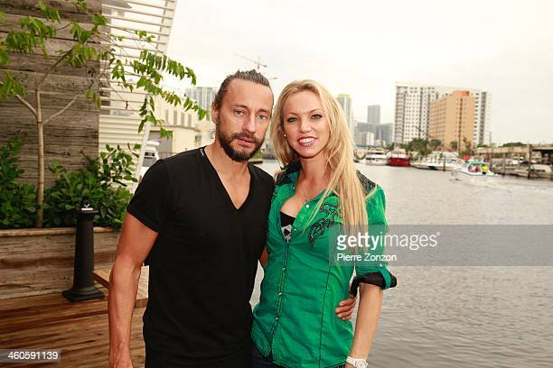 Bob Sinclar and TV personality Carol Paredes are seen at Seasalt and Pepper Restaurant on January 4 2014 in Miami Florida