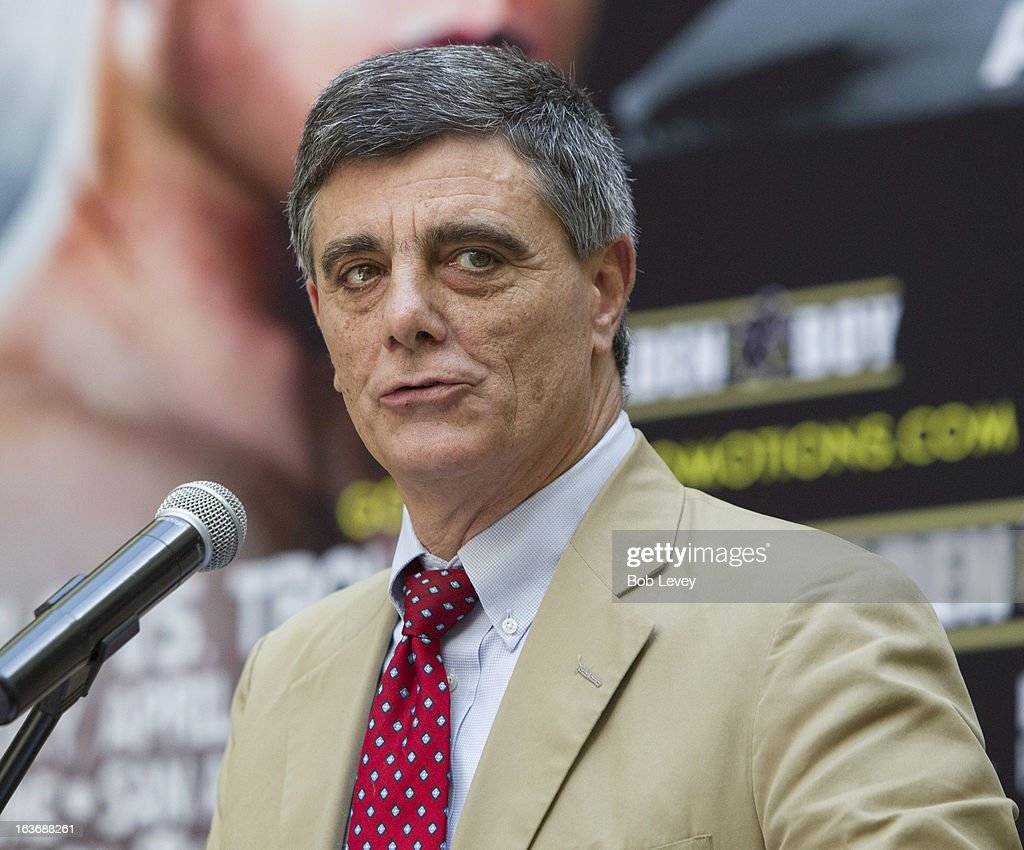 Bob Spagnola, manager for WBA Super Welterweight Champion Austin 'No Doubt' Trout, speaks during a press conference on March 14, 2013 in Houston, Texas. Trout will take on WBC Super Welterweight champion Canelo Alvarez to unify the 154-pound division on April 20, 2013 in Sa Antonio.
