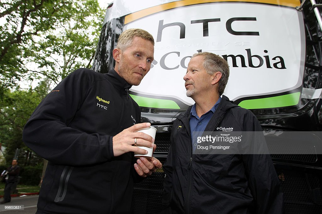 Bob Stapleton (R) owner fo HTC-Columbia talks with Director Sportif Brian Holm (L) prior to Stage Two of the Tour of California from Davis to Santa Rosa on May 17, 2010 in Davis, California.