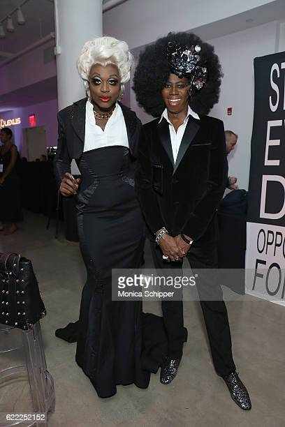 Bob the Drag Queen and Miss J attend the 2016 OUT100 Gala at Metropolitan West on November 10 2016 in New York City