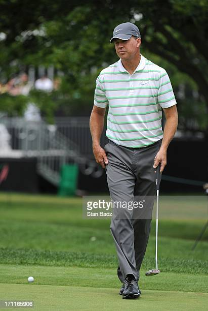 Bob Tway approaches the 18th green during the second round of the Encompass Championship at North Shore Country Club on June 22 2013 in Glenview...