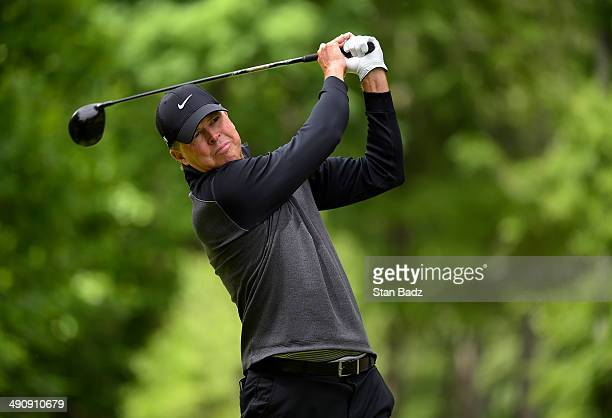 Bob Tway hits a drive on the ninth hole during the first round of the Regions Tradition at Shoal Creek on May 15 2014 in Shoal Creek Alabama
