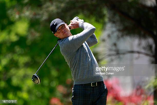 Bob Tway hits his drive on the fourth hole during the second round of the Greater Gwinnett Championship held at TPC Sugarloaf on April 20 2013 in...