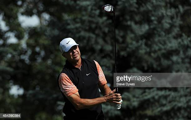 Bob Tway hits his drive on the fourth hole during the second round of the Shaw Charity Classic at the Canyon Meadows Golf Country Club on August 30...