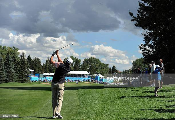 Bob Tway hits his second shot on the 18th hole during the second round of the Shaw Charity Classic at the Canyon Meadows Golf and Country Club on...