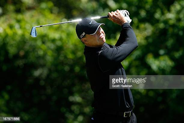 Bob Tway hits his tee shot on the third hole during the first round of the Insperity Championship at the Woodlands Country Club on May 3 2013 in...