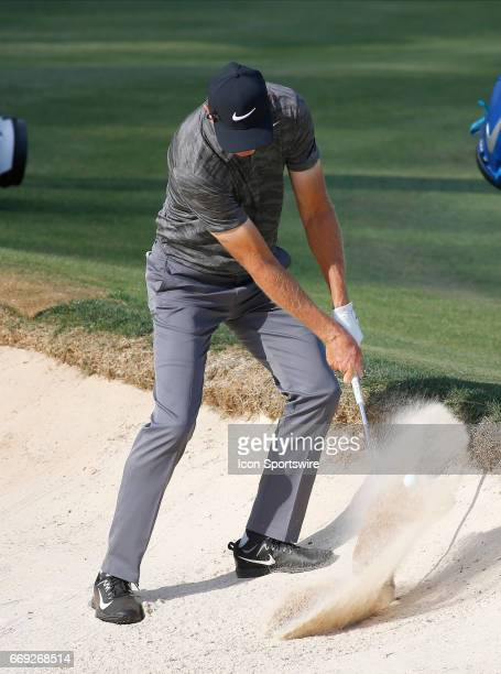 Bob Tway hits out of the bunker on the 18th green during the final round of the Mitsubishi Electric Classic tournament at the TPC Sugarloaf Golf Club...