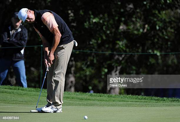 Bob Tway makes his par putt attempt on the 17th hole during the second round of the Shaw Charity Classic at the Canyon Meadows Golf and Country Club...