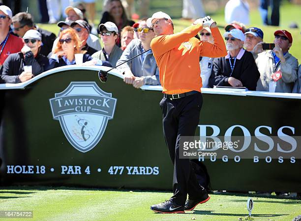 Bob Tway of the United States and the Oaktree National Team during the final day of the 2013 Tavistock Cup Matches at Isleworth Golf and Country Club...
