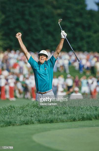 Bob Tway of the United States holes a bunker shot on the 18th hole to win the 1986 68th PGA Championship on August 11 1986 at the Inverness Country...