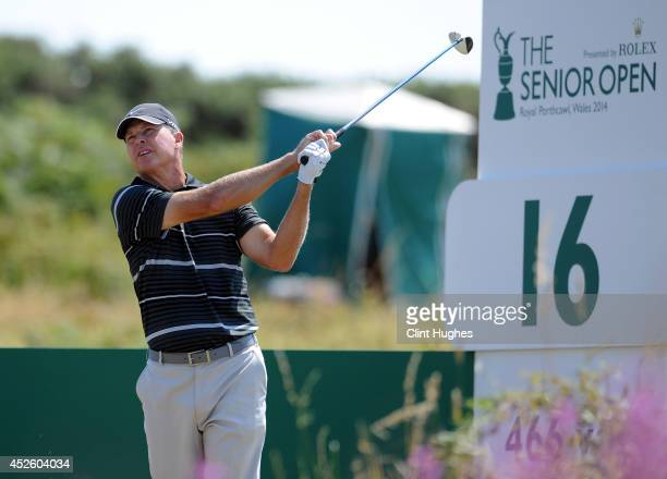 Bob Tway of the United States tees off on the 16th hole during the first round of the Senior Open Championship at Royal Porthcawl Golf Club on July...