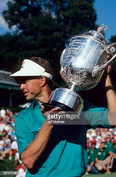 Bob Tway of the United States with the Wanamaker trophy after winning the 1986 68th PGA Championship on August 11 1986 at the Inverness Country Club...