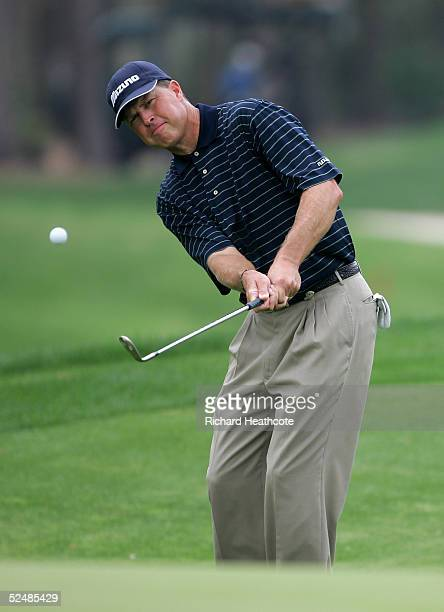 Bob Tway of the USA chips onto the 2nd green during the third round of The Players Championship at the TPC at Sawgrass on March 27 2005 in Ponte...