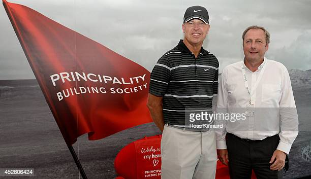 Bob Tway of the USA meets Graham Yorston CEO of the Principality Building Society during a visit to their hospitality unit during the first round of...