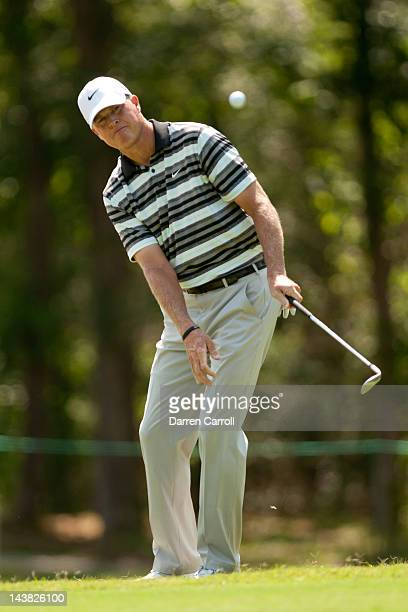 Bob Tway plays a pitch shot at the tenth hole during the first round of the Insperity Championship at The Woodlands Country Club on May 4 2012 in The...