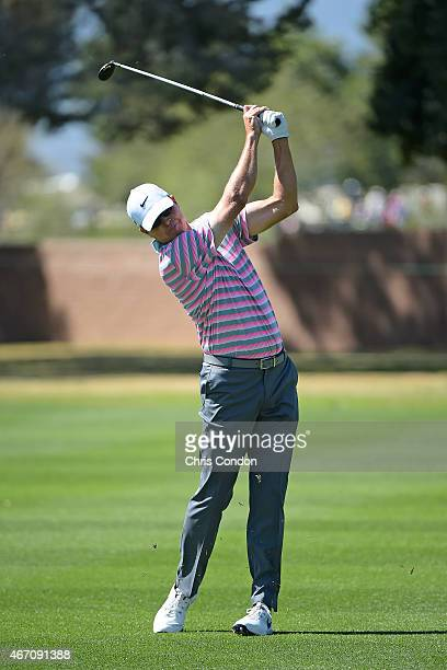 Bob Tway plays his second shot on the second hole during the first round of the Champions Tour Tucson Conquistadores Classic at Omni Tucson National...