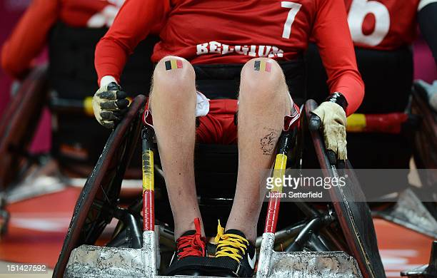 Bob Vanacker of Belgium with the Belgium flag on his knees during the Mixed Wheelchair Rugby Open match between Australia and Belgium on Day 9 of the...