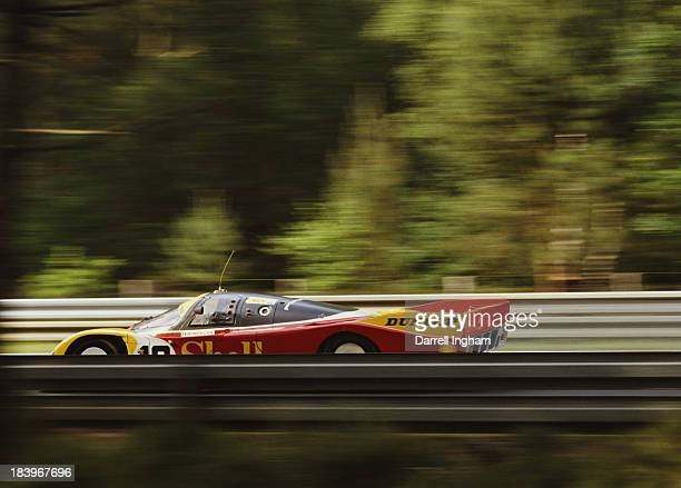 Bob Wollek of France drives the Shell/Dunlop Porsche AG Porsche 962 C during the FIA World Sportscar Championship 24 Hours of Le Mans race on 11th...