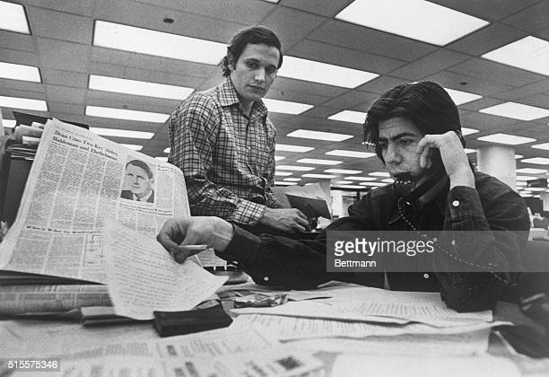 Bob Woodward and Carl Bernstein Washington Post staff writers who have been investigating the Watergate case at their desk in the Post