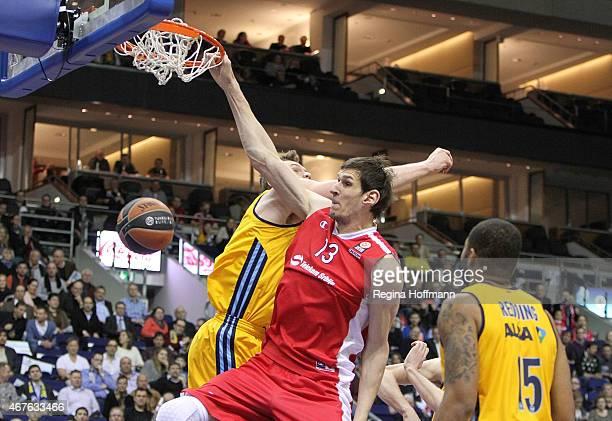 Boban Marjanovic #13 of Crvena Zvezda Telekom Belgrade in action during the Turkish Airlines Euroleague Basketball Top 16 Date 12 game between Alba...