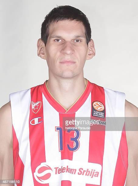 Boban Marjanovic #13 poses during the Crvena Zvezda Telekom Belgrade 2014/2015 Turkish Airlines Euroleague Basketball Media Day at Kombank Arena on...
