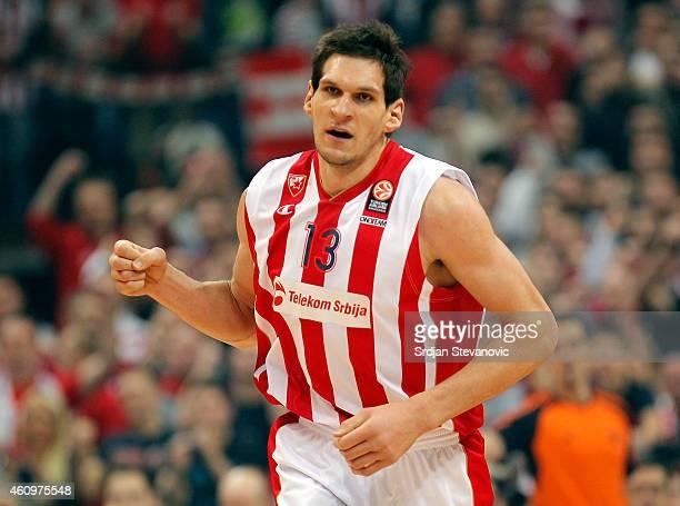 Boban Marjanovic of Crvena Zvezda Belgrade reacts during the 20142015 Turkish Airlines Euroleague Top 16 round one match between Crvena Zvezda...