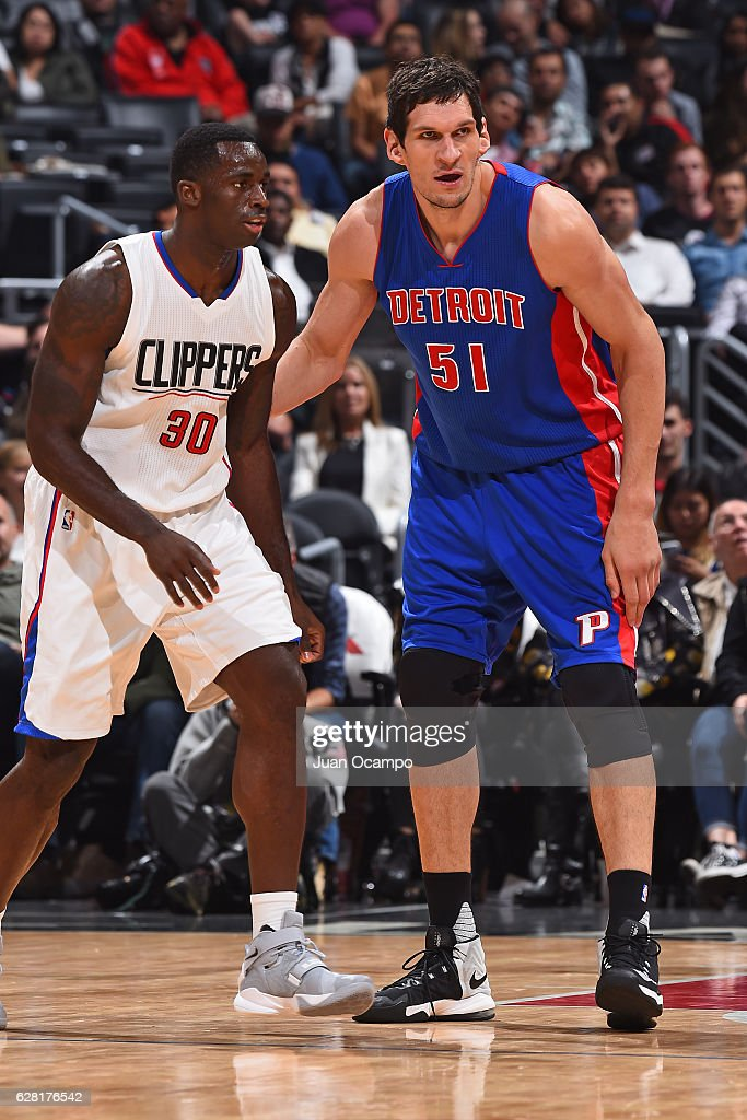 Boban Marjanovic #51 of the Detroit Pistons defends against Brandon Bass #30 of the LA Clippers on November 7, 2016 at the STAPLES Center in Los Angeles, California.