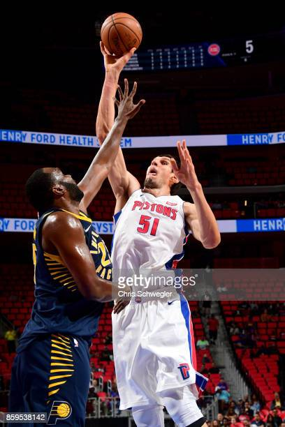Boban Marjanovic of the Detroit Pistons goes to the basket against the Indiana Pacers on October 9 2017 at Little Caesars Arena in Detroit Michigan...