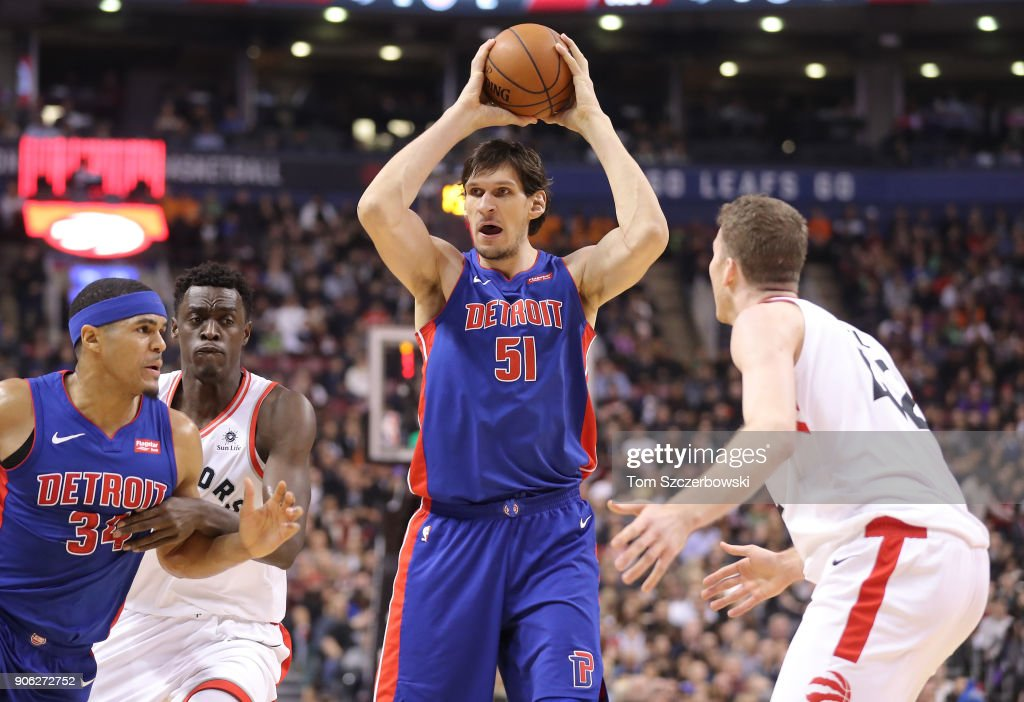 Boban Marjanovic #51 of the Detroit Pistons looks for a play against the Toronto Raptors at Air Canada Centre on January 17, 2018 in Toronto, Canada.