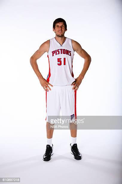 Boban Marjanovic of the Detroit Pistons poses for a photo during the 20162017 Detroit Pistons media day on September 26 2016 in Auburn Hills MI NOTE...