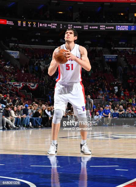 Boban Marjanovic of the Detroit Pistons shoots a foul shot against the Philadelphia 76ers at Wells Fargo Center on March 4 2017 in Philadelphia...