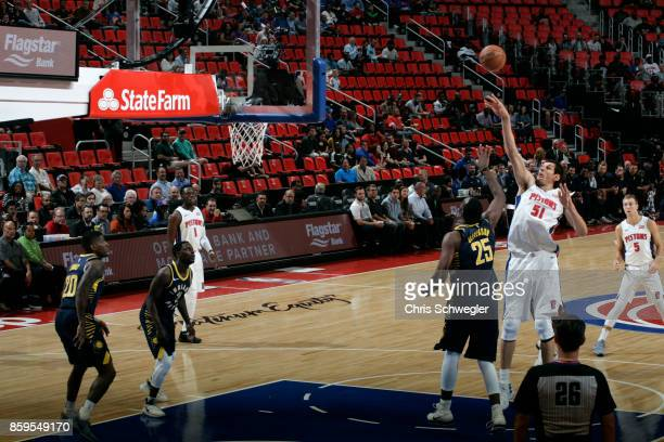 Boban Marjanovic of the Detroit Pistons shoots the ball against the Indiana Pacers on October 9 2017 at Little Caesars Arena in Detroit Michigan NOTE...