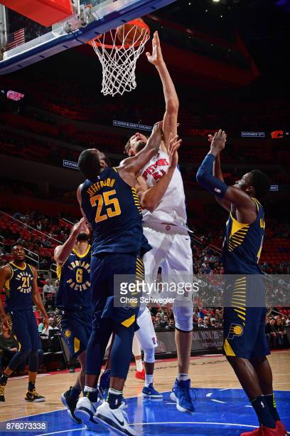 Boban Marjanovic of the Detroit Pistons shoots the ball against the Indiana Pacers on November 8 2017 at Little Caesars Arena in Detroit Michigan...