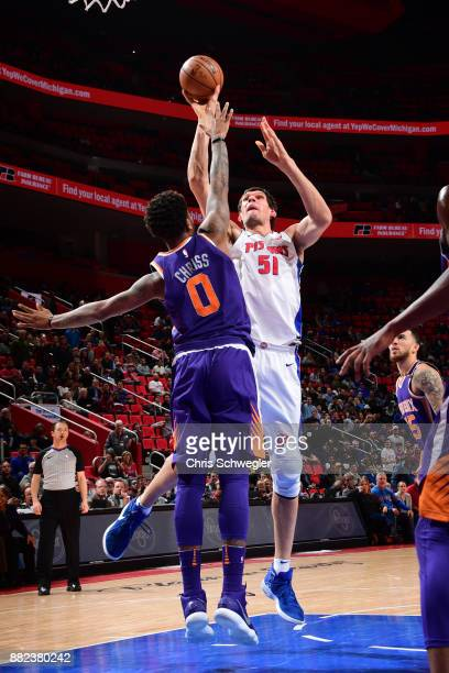 Boban Marjanovic of the Detroit Pistons shoots the ball against the Phoenix Suns on November 29 2017 at Little Caesars Arena in Detroit Michigan NOTE...