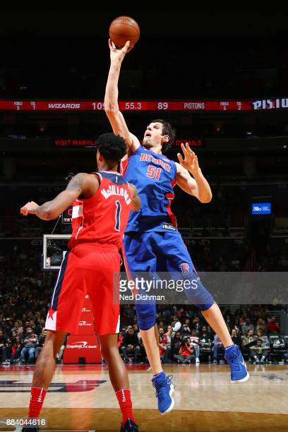 Boban Marjanovic of the Detroit Pistons shoots the ball against the Washington Wizards on December 1 2017 at Capital One Arena in Washington DC NOTE...