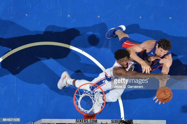 Boban Marjanovic of the Detroit Pistons shoots the ball against the Philadelphia 76ers on December 2 2017 at Wells Fargo Center in Philadelphia...
