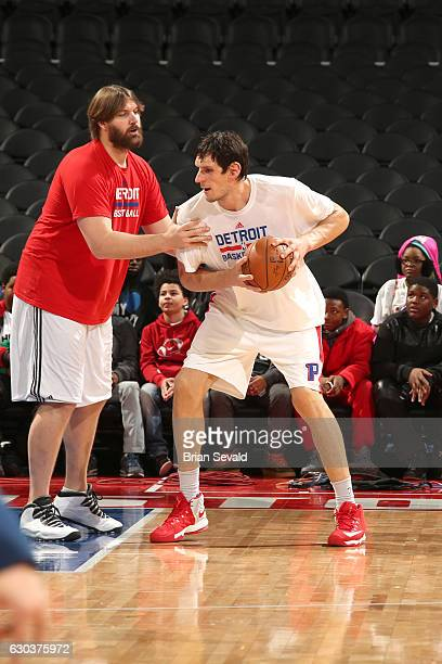 Boban Marjanovic of the Detroit Pistons warms up before the game against the Memphis Grizzlies on December 21 2016 at The Palace of Auburn Hills in...