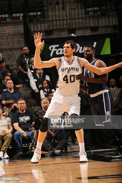 Boban Marjanovic of the San Antonio Spurs fights for position against the Oklahoma City Thunder in Game One of Western Conference Semifinals of the...