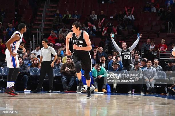 Boban Marjanovic of the San Antonio Spurs hits a bucket against the Philadelphia 76ers at Wells Fargo Center on December 7 2015 in Philadelphia...