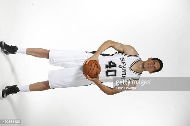 Boban Marjanovic of the San Antonio Spurs poses for a portrait during media day at the Spurs Training Facility on September 28 2015 in San Antonio...