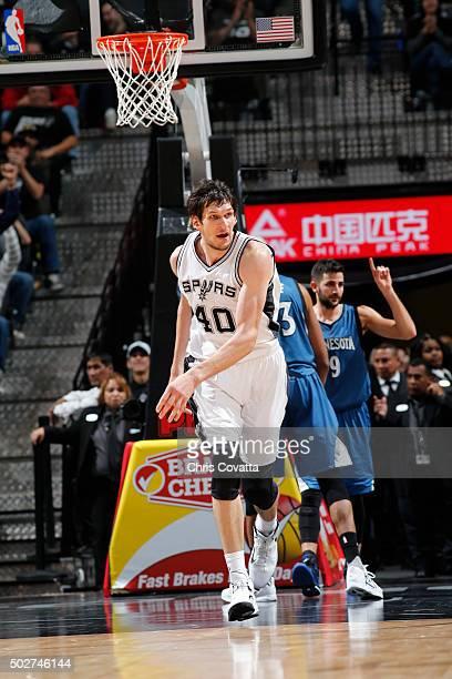 Boban Marjanovic of the San Antonio Spurs runs the court against the Minnesota Timberwolves on December 28 2015 at the ATT Center in San Antonio...