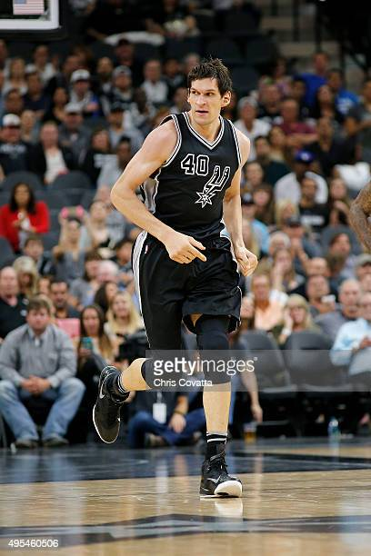 Boban Marjanovic of the San Antonio Spurs runs up court against the Brooklyn Nets at the ATT Center on October 30 2015 in San Antonio Texas NOTE TO...