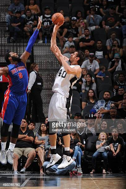 Boban Marjanovic of the San Antonio Spurs shoots the ball against the Detroit Pistons during a preseason game on October 18 2015 at the ATT Center in...