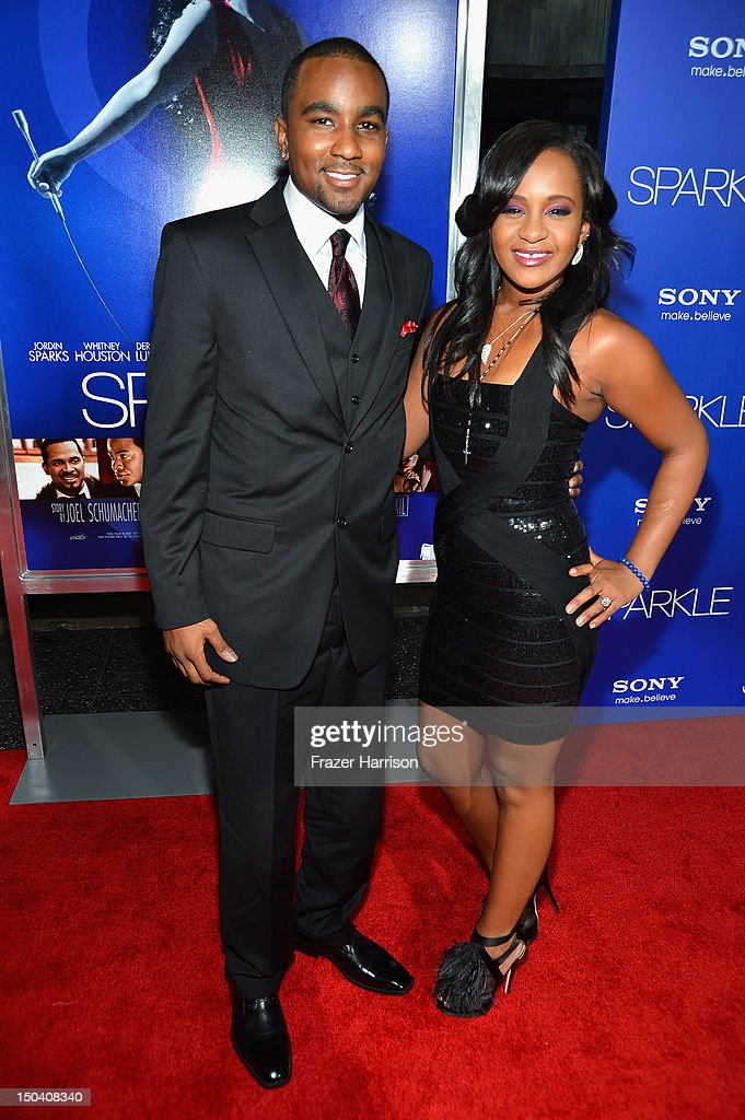 <a gi-track='captionPersonalityLinkClicked' href=/galleries/search?phrase=Bobbi+Kristina+Brown+-+Television+Personality&family=editorial&specificpeople=1198462 ng-click='$event.stopPropagation()'>Bobbi Kristina Brown</a> (R) and <a gi-track='captionPersonalityLinkClicked' href=/galleries/search?phrase=Nick+Gordon+-+Boyfriend+of+Bobbi+Kristina+Brown&family=editorial&specificpeople=14103829 ng-click='$event.stopPropagation()'>Nick Gordon</a> arrive at Tri-Star Pictures' 'Sparkle' premiere at Grauman's Chinese Theatre on August 16, 2012 in Hollywood, California.