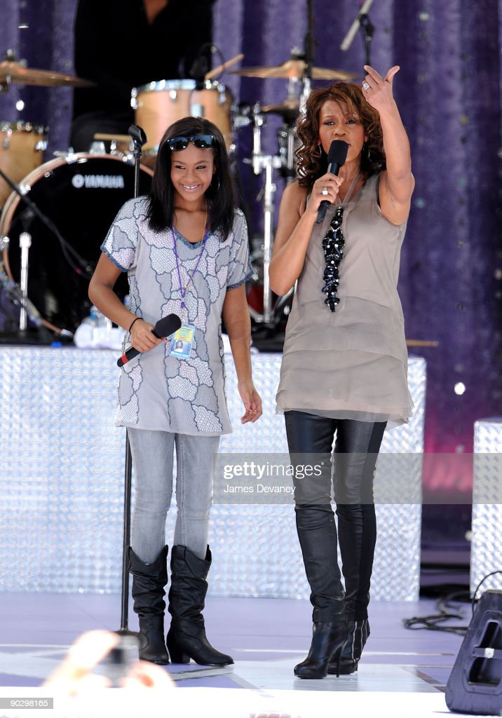 Bobbi Kristina Brown and Whitney Houston perform on ABC's 'Good Morning America' at Rumsey Playfield, Central Park on September 1, 2009 in New York City.