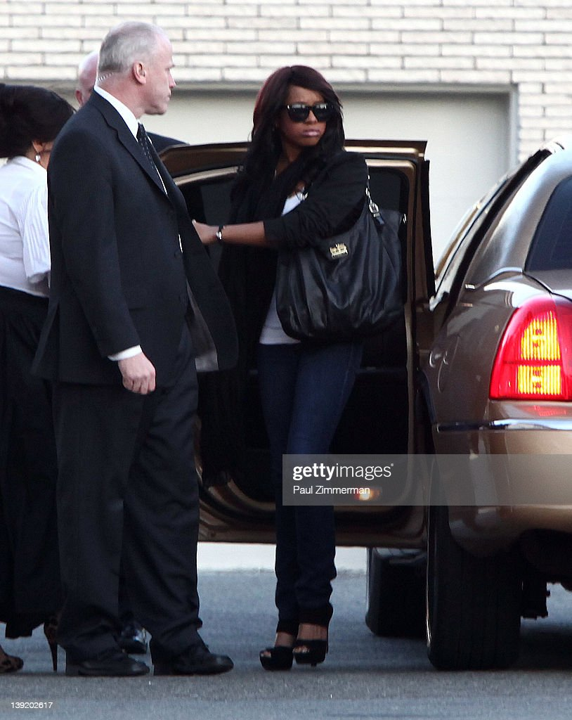 Bobbi Kristina Houston Brown arrives at Whigham Funeral Home for a private viewing for her mother Whitney Houston on February 17, 2012 in Newark, New Jersey. Whitney Houston was found dead in her hotel room at The Beverly Hilton hotel on February 11, 2012.