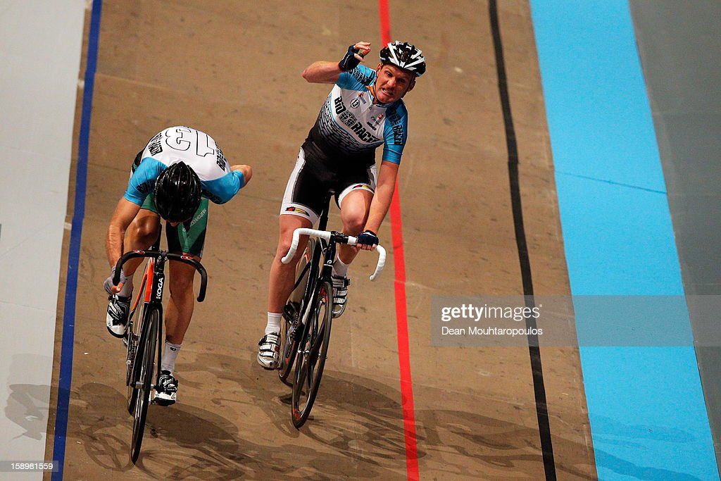 Bobbie Traksel and Tim Veldt compete in the Time Trial during the Rotterdam 6 Day Cycling at Ahoy Rotterdam on January 4, 2013 in Rotterdam, Netherlands.